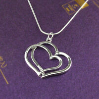 Silver Plated Necklace Girls Jewelry 2 Heart Pendant Elegent Chain Women Charm