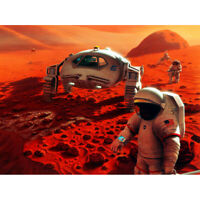 Space NASA Humans On Mars Planet Rover Illustration Canvas Wall Art Print Poster