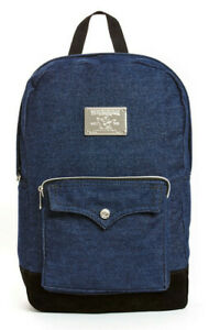 True Religion Men's Metal Plate Logo Backpack Bag in Body Rinse