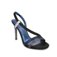 Sandali CafèNoir eleganti tacco alto raso nero blu grigio strass 35 39 40 NN903