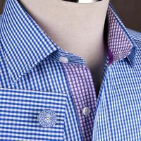 Navy Blue Plaids & Checks Formal Business Dress Shirt Mini Gingham Checkers Boss