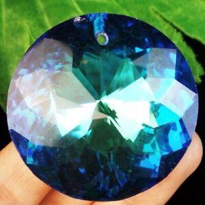 45x18mm Faceted Blue Titanium Crystal Round Pendant Bead D84170
