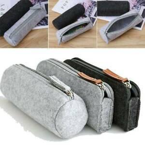 Large Simple Felt Zipper Cosmetic Pouch Pencil Bag Pen Case School Supplies New