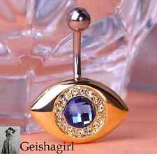 Belly Ring Navel Button Gold Plated CZ Gem Evil Eye Barbell Bar Body Piercing