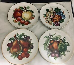 """Set of 4 decorative 6"""" plates various fruits hand painted ready to hang"""