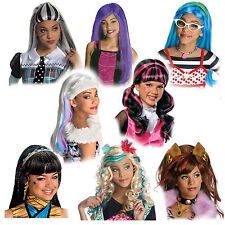 Child Monster High Frankie Draculaura Clawdeen Lagoona Cleo Hair Costume Wig