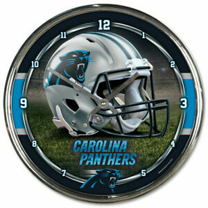 Carolina Panthers 12 Inch CHROME Clock by Wincraft - Perfect for Man Cave,Office