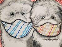 Old English Sheepdog Quarantine Pop Art Print 5x7 Dog Collectible Artist KSams