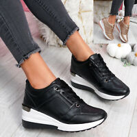WOMENS LADIES HIDDEN WEDGE HEEL TRAINERS PARTY SNEAKERS COMFY WOMEN SHOES SIZE