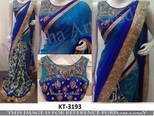 Blue Color Georgette Fabric Half & Half  Heavy Party Wear Designer Blouse saree