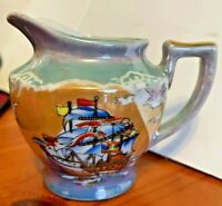 BLUE & PEACH LUSTERWARE Creamer Opalescent Elite W/ 18TH CENTURY SHIP-JAPAN