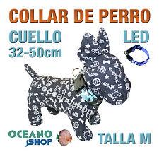 COLLAR PERRO CAMUFLAJE LED AZUL AJUSTABLE TALLA M CUELLO 32-50cm L35MA 3119