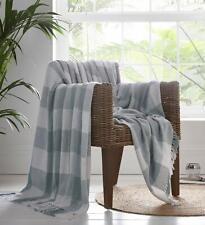 Window Pane Check 100% Cotton Throw Fringed Grey & White 180cm x 250cm X Large