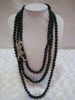 "HEIDI DAUS""Pretty Panther"" Triple Strand (Big Cat) Beaded Necklace(Orig.$199.95)"
