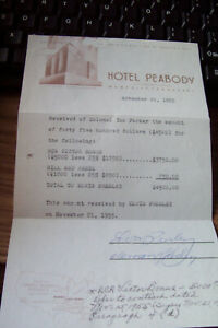 ELVIS PRESLEY $4,500.00 PAID RECEIPT TO ELVIS HOTEL PEABODY. SIGNED BY ELVIS & V