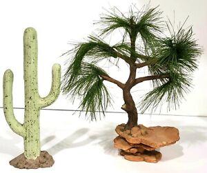 Friends of the Feather TREE ON PLATFORM RISER & CERAMIC CACTUS Enesco