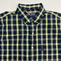 Chaps Ralph Lauren Button Up Shirt Men's Large Short Sleeve Blue Yellow Plaid