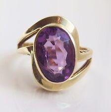 Stunning Vintage Modernist 14ct Gold Amethyst set Ring c1960; UK Size 'L 1/2'