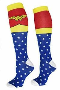 New Wonder Woman Superhero Socks, Shoe Size: 4-10 (Knee High, Blue)