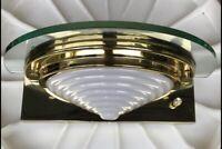Vintage Pair Brass Glass Art Deco Wall Sconce Sconces Halogen Mid Century