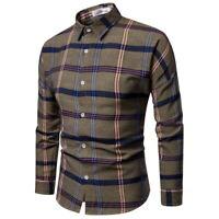 Regular Men Square Collar Plaid Shirt Long Sleeve Checkered Cotton