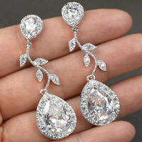 Trendy 18K Rose Gold Filled Leaf Pear Cut Women Jewelry Dangle Drop Earrings