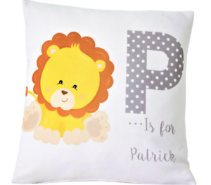 """Personalised Baby Boy little Lion - 16"""" white cushion cover boy nursery gift"""