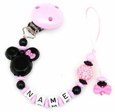 Schnullerkette mit Namen Minnie mouse rosa schwarz Mädchen Maus Doppelname