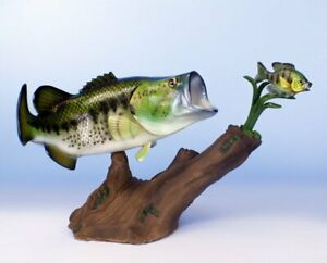 Large Mouth Bass Replica Striking Sun Fish Statue
