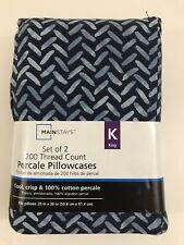 Mainstays 200 Thread Count Pillowcases Blue Herringbone Set of 2 NEW KING