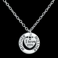 925 Sterling Silver I Love You Mother New Fashion Necklace (Pendant + Chain)