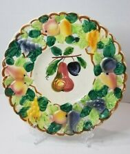 Vintage Hand Painted Ceramic/Porcelain Fruit Plate w/Cut-Outs - Country Kitchen