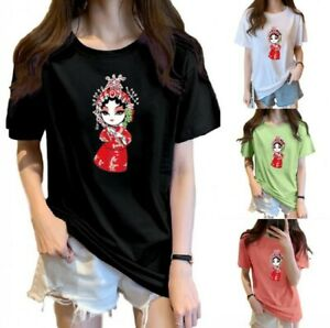 Women T-shirt 100% Cotton Chinese Style Print Short Sleeve Casual Tops Plus Size