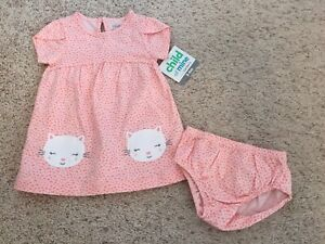 NWT Baby Girl Size 3/6 Month Dress/bloomers Carters Cat Theme