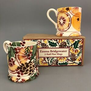 NWOT Emma Bridgewater Holly Wreath 2x Half Pint Mugs Christmas  28140 CP