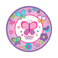 """18 Sweet Pink Butterfly Pink Girl's 1st Birthday Party 7"""" Dessert Paper Plates"""
