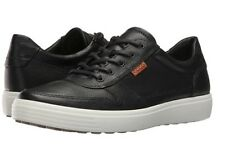 NEW ECCO Soft 7 Casual Lace Up Sneakers Shoes Black Leather Men Size 48 (US 14)