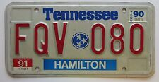 Tennessee 1991 HAMILTON COUNTY License Plate NICE QUALITY # FQV 080