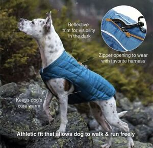 Genuine Kurgo Quilted Loft  Coat Harness Access Costal Blue  Reversible .