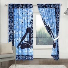 Indian buddha mandala window curtain cotton drapes hanging balcony room door set