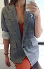Zara Light Grey Checked Tiny Gingham Jacket Size L-XL