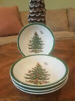 "Set of 4 Spode Christmas Tree Cereal Dessert Bowls Green Trim 6""w excellent"