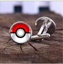 Pokemon Cufflinks Silver Plated Pokeball Cuff Links Accessories Geek Wedding