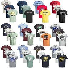3er Pack Jack & Jones Herren T-Shirt Regular Slim Fit Rundhals Print kurzarm