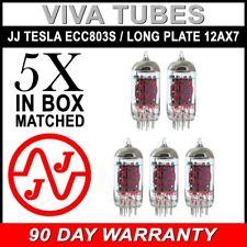 Brand New Matched Quintet (5) High Gain JJ ECC803S / Long Plate 12AX7 Tubes