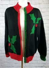 Vintage Brooks Brothers Women's (M) Holly Sweater Wool Christmas Button Cardigan