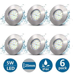 6X LED Badeinbaustrahler Ultra Flach 5W IP44 Einbauleuchte Bad Einbauspot 230V