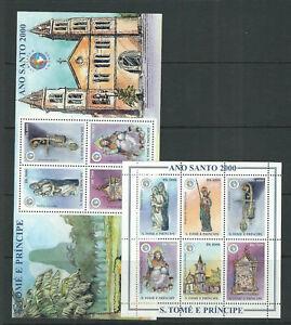 ST. THOMAS and PRINCIPE 2000 HOLY YEAR 2000 2 SOUVENIR SHEETS VF MNH