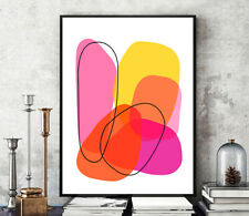 Prints, Posters, Minimalist Pink Orange Bright Contemporary Abstract Art Modern
