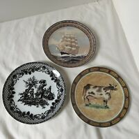 Set of 3 Formalities by Baum Bros Collector Plates - Cow Tall Ship Greece NEW